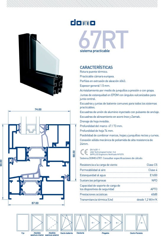 Detalles Técnicos DOMO 67RT-C16